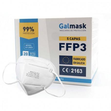 Mascarillas FFP3 Galmask fabricadas en España - 99% protección - Caja de 20 unidades