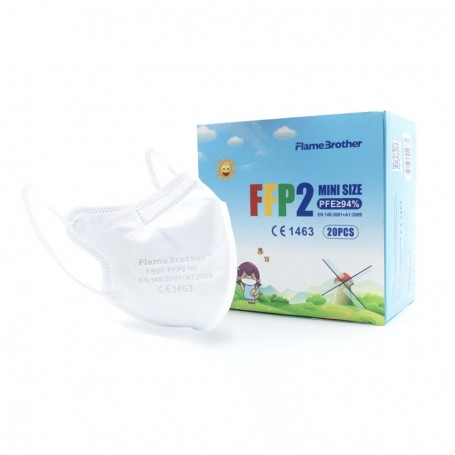 Kids face masks - FFP2 FlameBrother (7-12 years) White color - CE1463