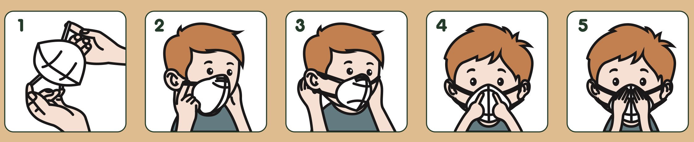 Instructions for placing an FFP2 Mask in children